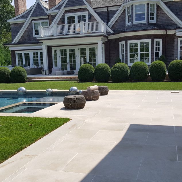 Limestone pool patio, Water Mill NY