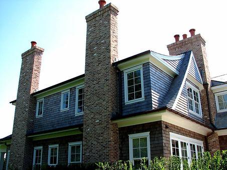 Chicago pink brick veneer chimneys, project in Bridgehampton NY