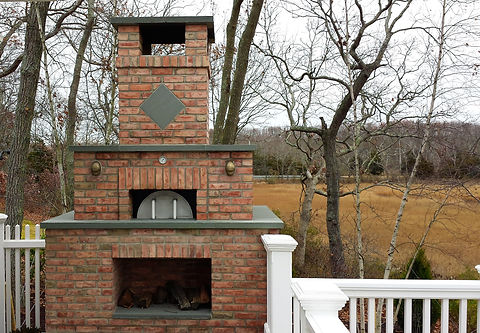Custom Danish blend brick pizza oven, prject in Southold NY
