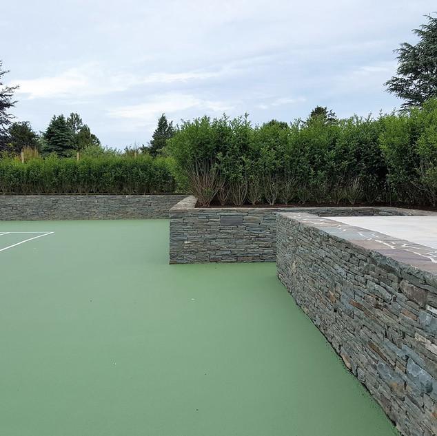 Natural stone tenis court wall, Project in Bridgehampton NY