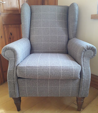 Grey Check Wingback Chair