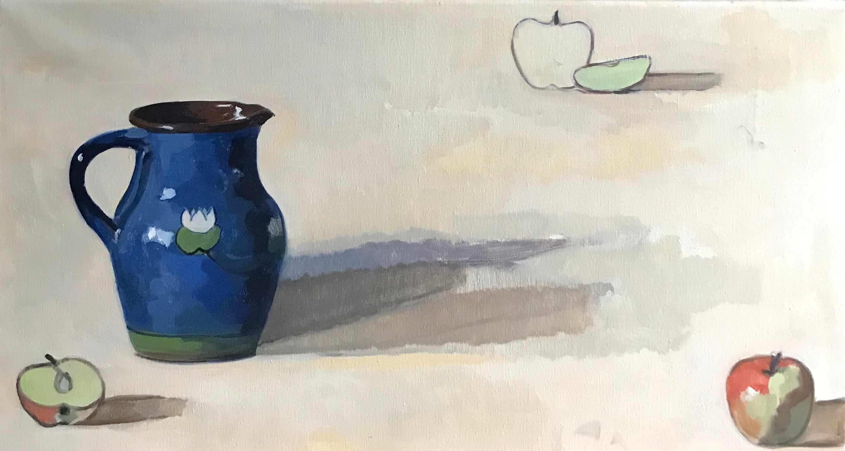 Blue Jug and Apples