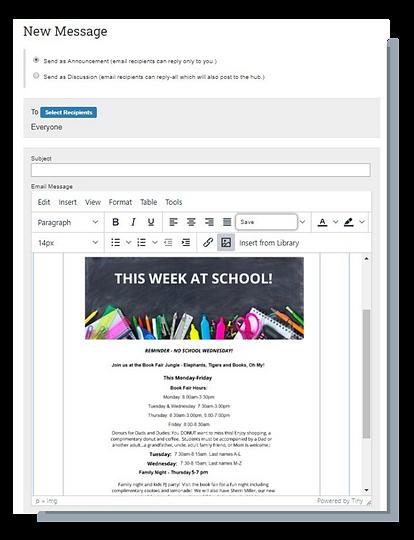 MemberHub newsletter editor