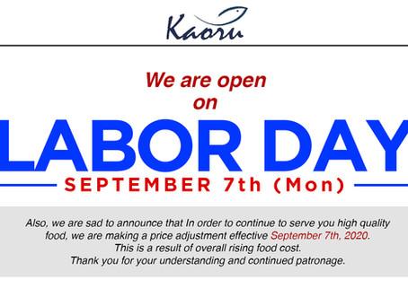 Labor day営業と価格改定について。