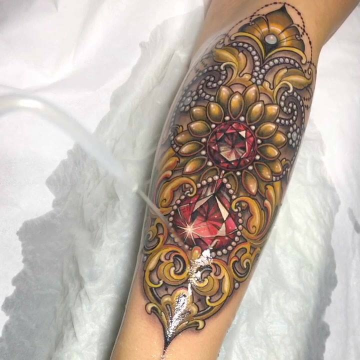 Thank you Michele!!!! 💎 Loved doing this Jewelled filigree arm piece 😁  Made with the best 💎 @inkjecta @inkjectapro  @stencilforte @dermalizepro @worldfamousink @killerinktattoo @balm_tattoo @fytcartridges