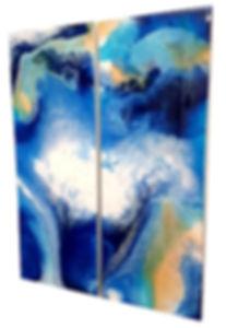 Ocean Skies - Fluid Acrylic Pour by Asha Tank Art