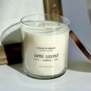 santal coconut soy wax candle