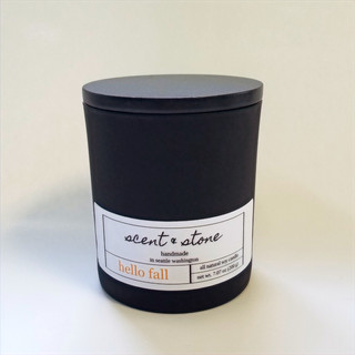 matte black hello fall soy candle