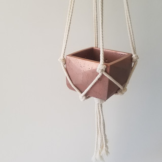 macrame hanger with cement pot
