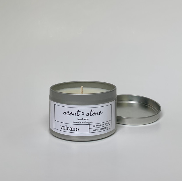 volcano soy candle tin
