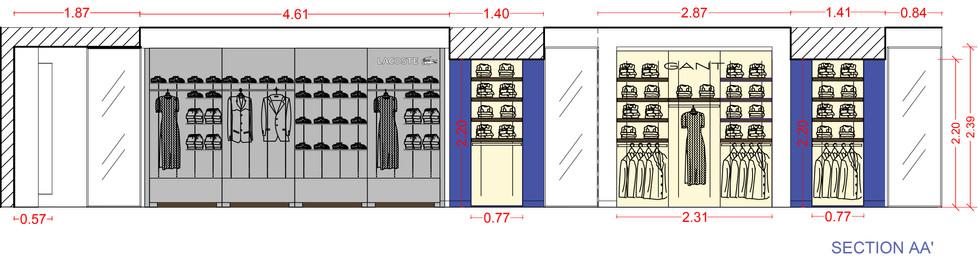 Σχέδια ανακαίνισης corner Lacoste στον 5ο όροφο του πολυκαταστήματος Attica City Link