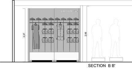 Σχέδια ανακαίνισης corner Lacoste στον 2ο όροφο του πολυκαταστήματος Attica City Link