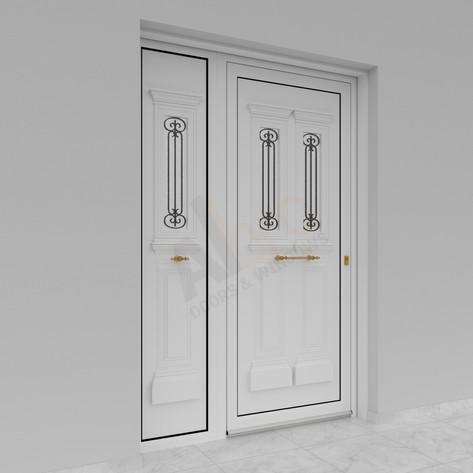 Μονόφυλλη είσοδος με σταθερό στο πλάι_Φινίρισμα λευκό