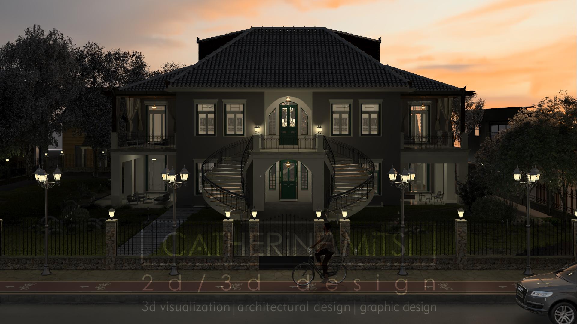 Εξωτερική νυχτερινή όψη νεοκλασικής οικίας