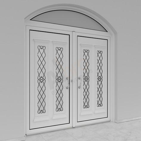 Δίφυλλη είσοδος με σταθερό ελλειπτικό_Φινίρισμα λευκό