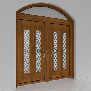 Δίφυλλη είσοδος με σταθερό ελλειπτικό_Φινίρισμα oak