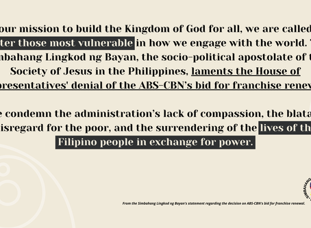 On the Philippines Congress' denial of ABSCBN franchise