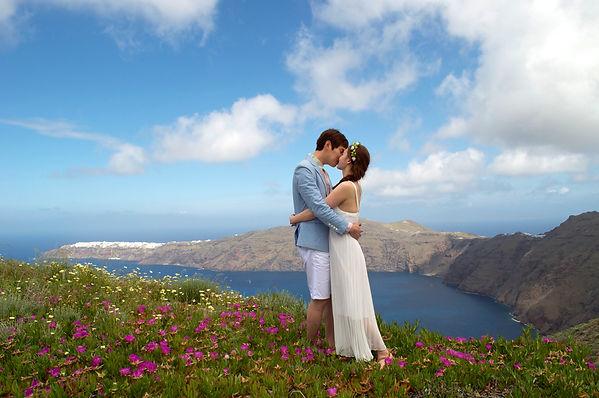 Santorini Dovetail Photographer Destination Wedding Couple