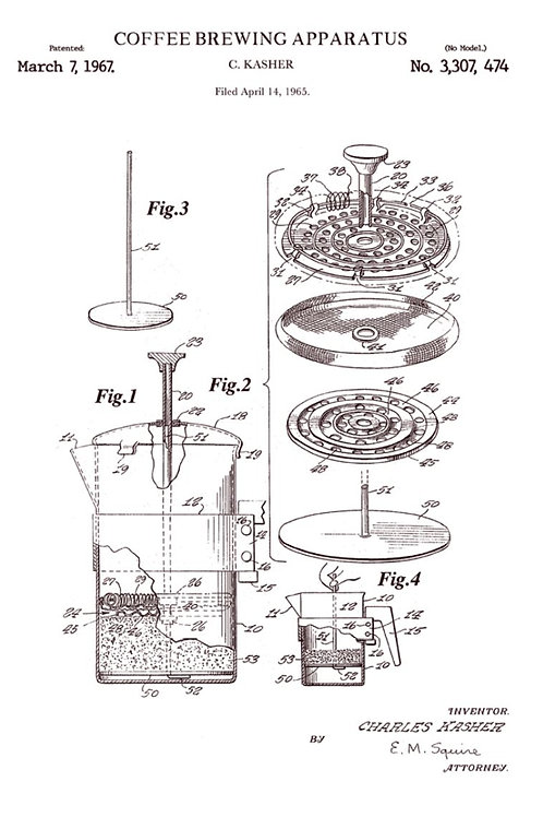 Patent of Coffee brewing apparatus (1967) - Greetings Card