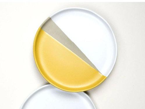 Mustard yellow, white & grey stoneware side plate