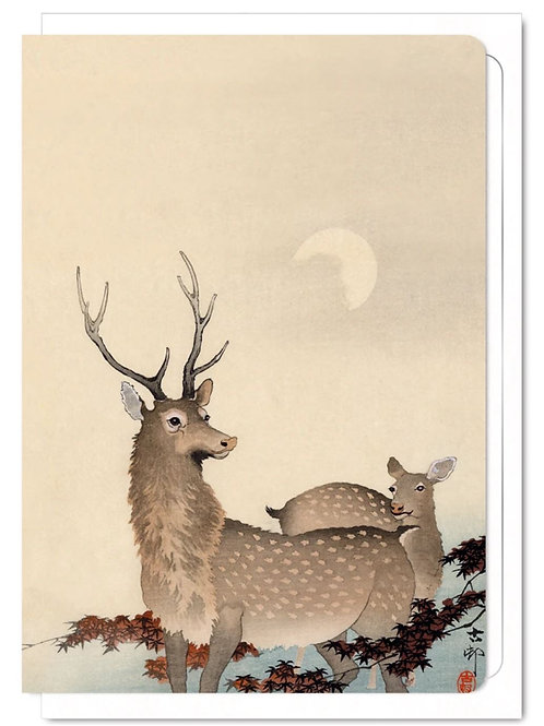 Two Deer and Maple - Greetings Card