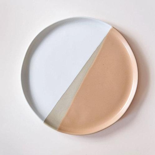 Saffron, white & grey stoneware side plate