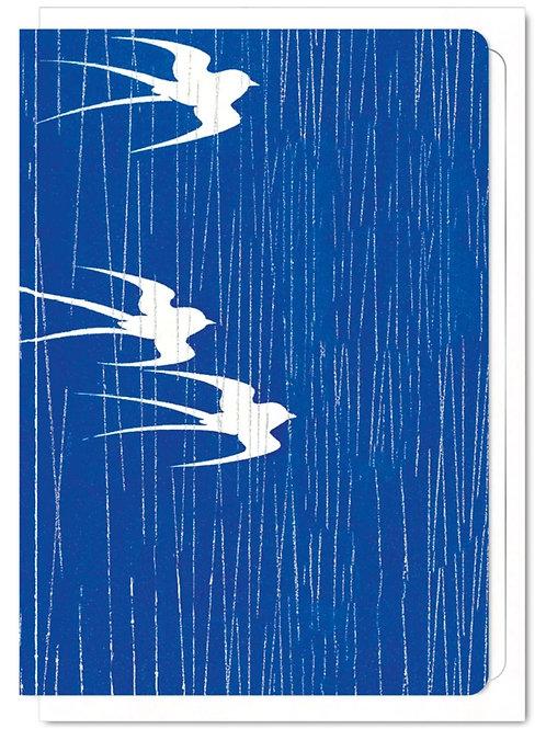 Swallows in the Rain - Greetings Card
