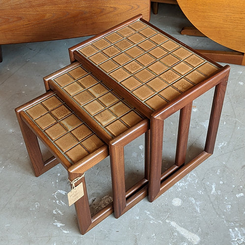 Nest of Nathan side tables with tiled top