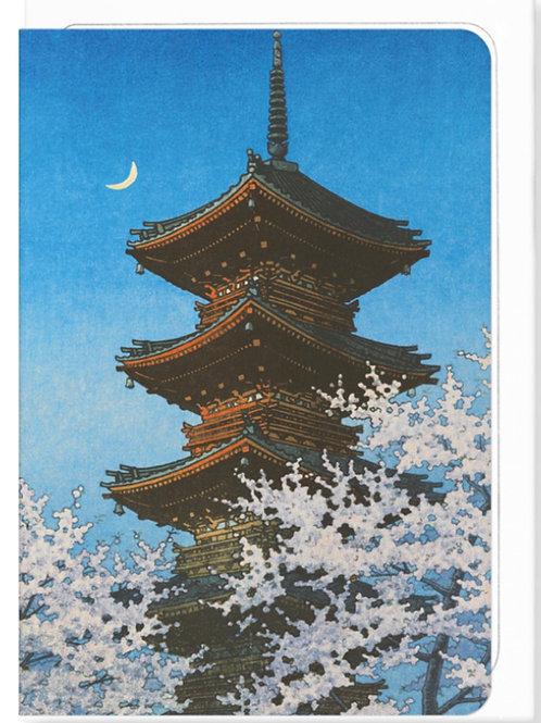 Evening Glow on a Pagoda - Greetings Card