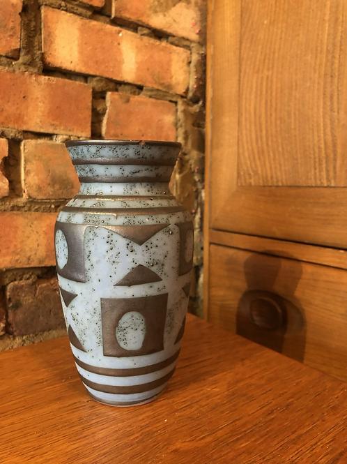 Blue Geometric West German Vase - 003-18