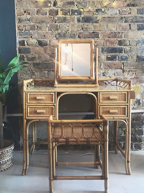 Angraves Cane 1970s Dressing Table Set