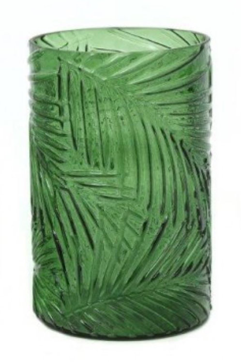 Tropical Leaf Glass Vase - Medium Green