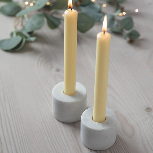 Double Sided White Marble Candle Holder
