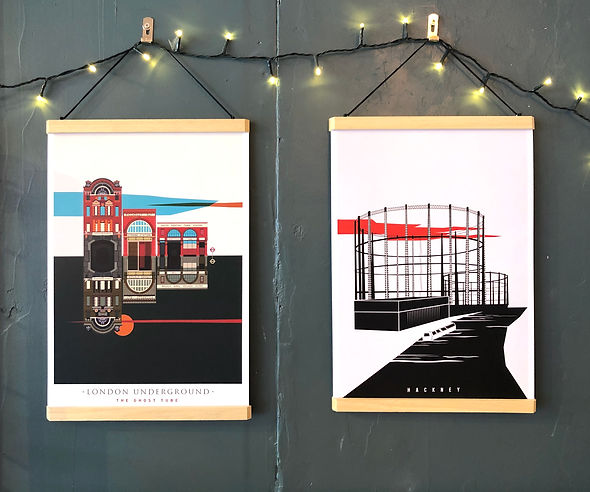 Two retro inspired art prints of London
