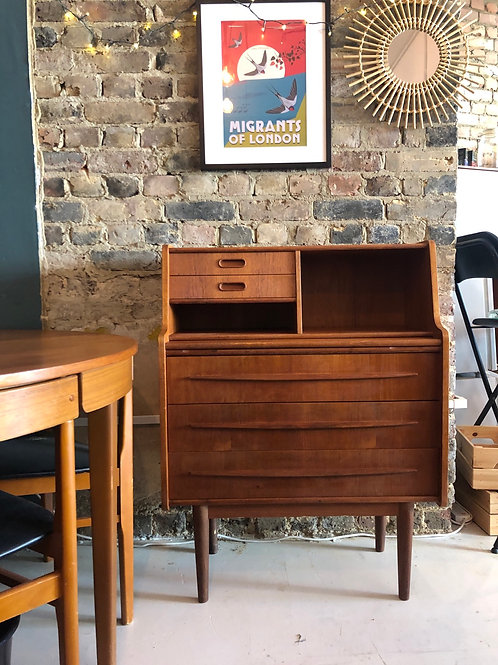 Mid Century Chest of Drawers with Writing Surface