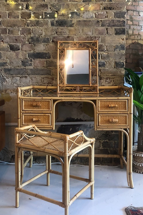 Angrave Cane 1970s Dressing Table Set