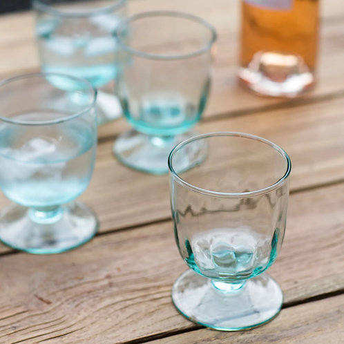Reycled Glass wine glasses on wooden table