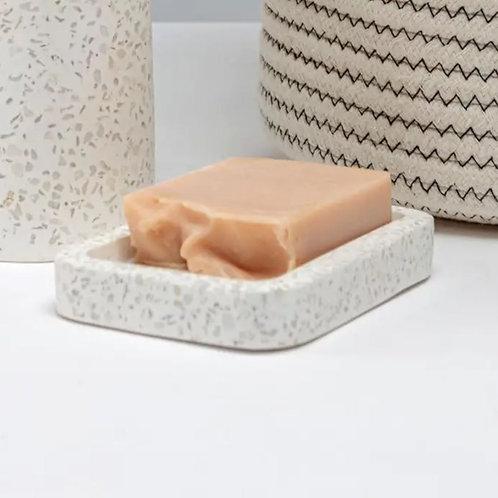 White Terrazzo Soap Dish