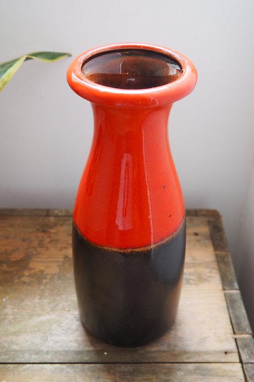 Red and Black West German Vase
