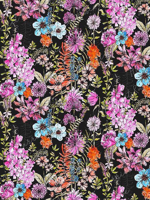 Gift Wrap - Wild Flowers on Black