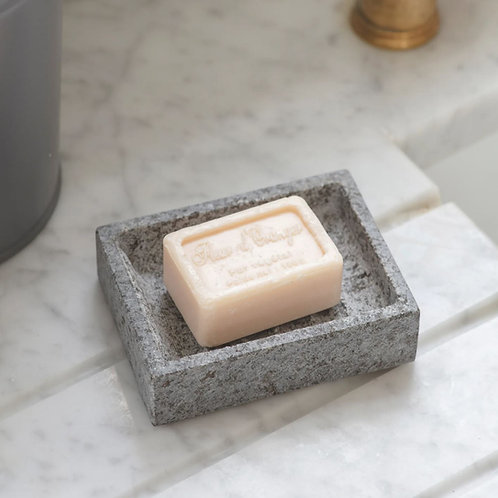 Grey granite soap dish with speckled effect