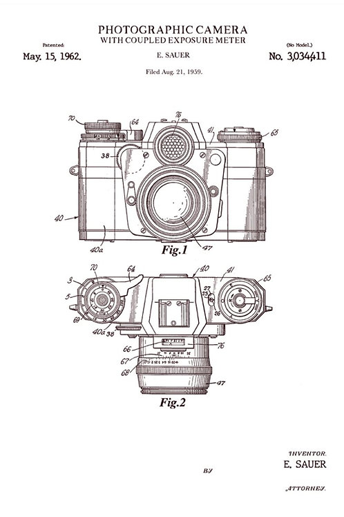 Patent of photographic camera (1962) - Greetings Card
