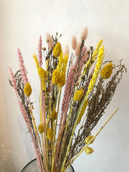 Dried Flower Bouquet in Pink and Yellow