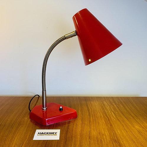 1950s Vintage Red Metal Desk Lamp