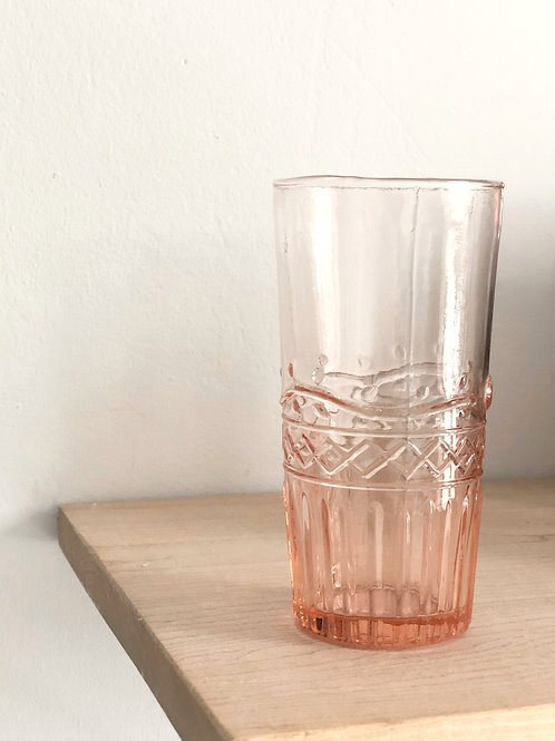 Freya Water Glass in Patterned Pink