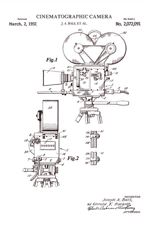 Patent of cinematography camera (1937) - Greetings Card