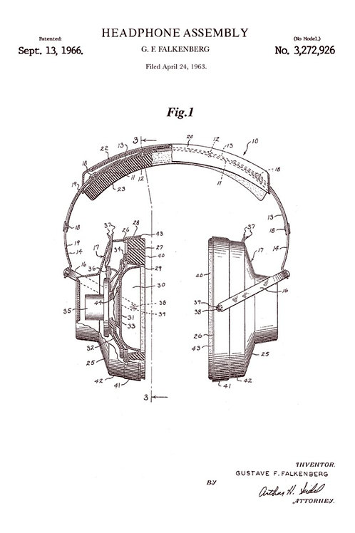 Patent of headphone (1966) - Greetings Card