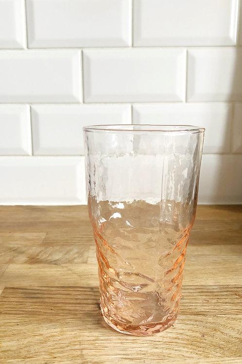 Freya Water Glass in Rippled Pink