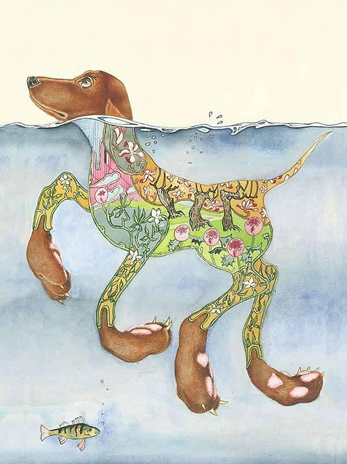 Doggy Paddle Greetings Card