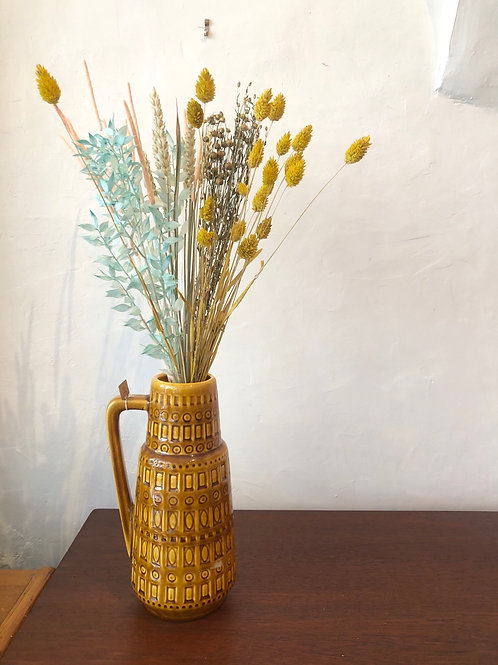 Dried Flower Bouquet in Blue and Yellow